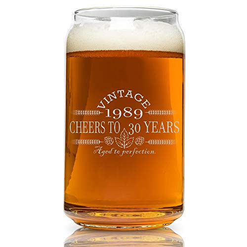 (30th Birthday- Vintage 1989 Beer Can Glass- Engraved-Vintage-Cheers-Aged To Perfection-Birthday Gift-Etched Beer Glass-Barware (1989 30th Vintage) )