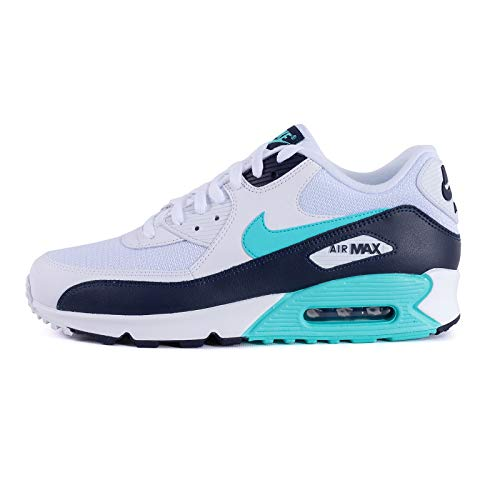 Nike Mens Air Max 90 Essential Running Shoes White/Aurora Green/Obsidian AJ1285-102 Size 8.5 ()