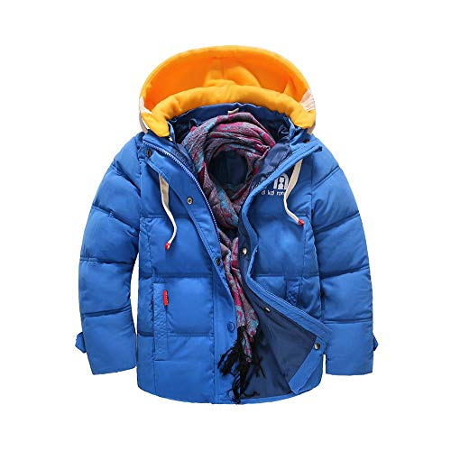 (OCHENTA Boys' Hooded Winter Quilted Puffer Jacket, Parka Down Coat Sapphire Blue Tag 130-47