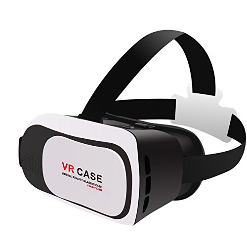 LANYOS VR Headset Virtual Reality 3D Glasses Helmet, 2016 New Version Ajustable VR Case Box for iPhone 6/6S/6S plus Samsung Galaxy S7 S6 S5 and All other 3.5-6.0 inch iOS Android Smartphones, White