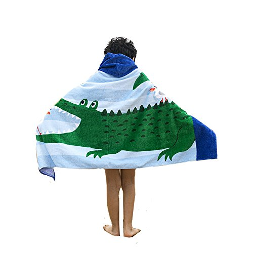 AteAte Cute Cartoon Baby Kid's Hooded Bath Towel Toddler Boy Girls Beach Towel New 100% Cotton 400 GSM(Crocodile) by AteAte