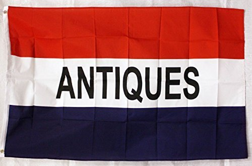 Antiques Flag 3'x5' Red White Blue Business Sign Banner by F