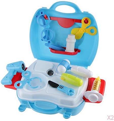 病院のキット就学前の子供の医師看護師は青ロールプレイのおもちゃをふり