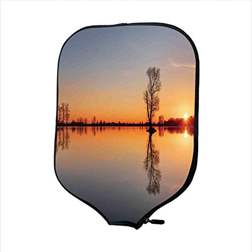 iPrint Neoprene Pickleball Paddle Racket Cover Case,Lake,Silhouette of Single Tree Over Still Lake Basin with Last Sun Rays on The Day Theme,Orange Blue,Fit for Most Rackets - Protect Your Paddle