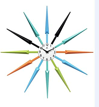 Infinity Instruments Midcentury Multicolored Wall Clock 24.5 x 24.5 x 1.75