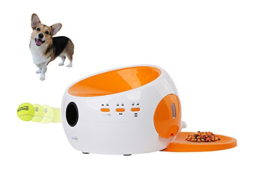 Dog Automatic Ball Launcher and Food Dispenser Fun Pet Toy by Auto Ball Launcher