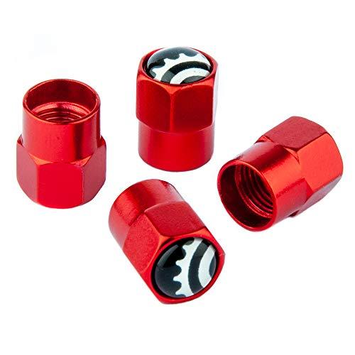 Bike Bits Schrader Valve Caps - Anodized Aluminum - Use On Schrader Bike Valves/Presta Valve Adapter (Hex Red) ()
