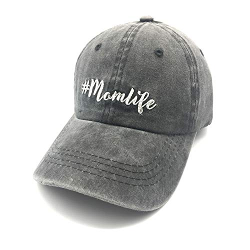 Waldeal Embroidered Unstructured Mom Life Vintage Jeans Adjustable Ballcap Cotton Denim Dad Hat Gift for Mom/Grandma Black
