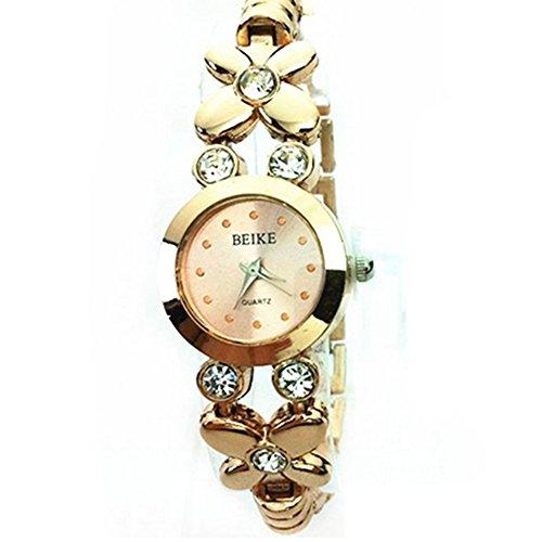 Women Girl Chic Fashion Daisies Flower Golden Bracelet Wrist Watch