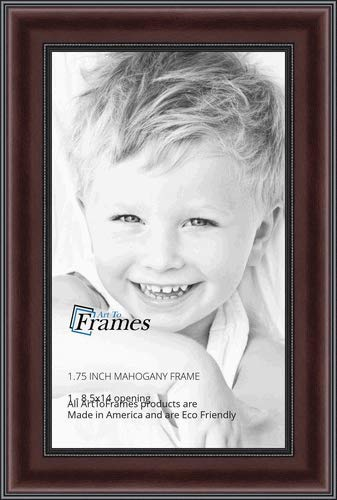 ArtToFrames 8.5x14 inch Mahogany and Burgundy with Beaded Lip Picture Frame, WOMN9590-8.5x14