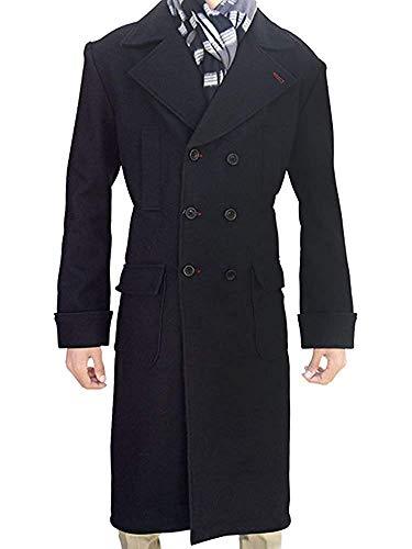 New Mens Black Woolen Sherlock Holmes Style Long Trench Overcoat (XXL)]()