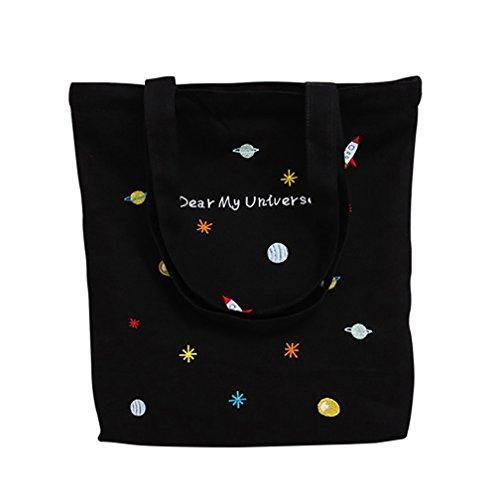 super1798 Women Creative Planets Embroidered Canvas Handbag Tote Shoulder Bag (1#)