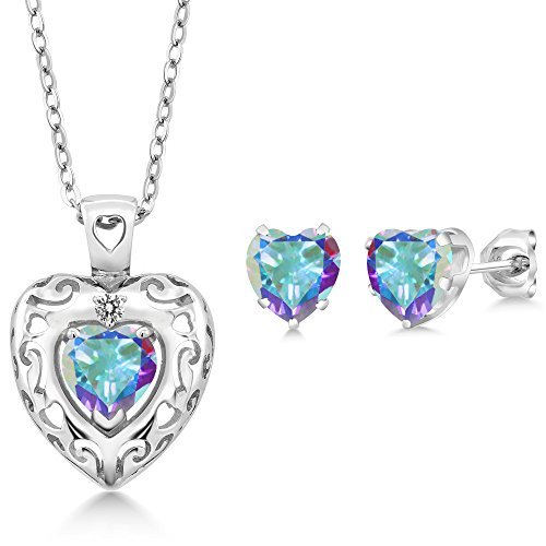 Mercury Topaz Set (2.87 Ct Mercury Mist Mystic Topaz White Diamond 925 Sterling Silver Pendant Earrings Set)