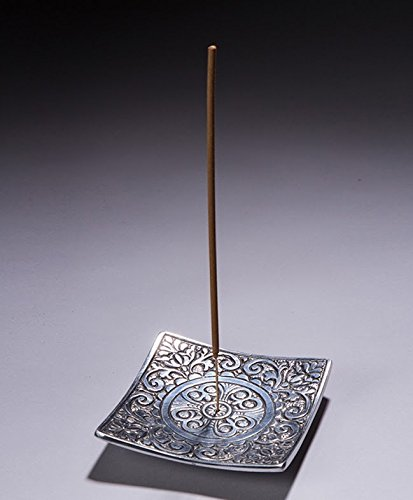 Recycled Aluminum Incense Holder Metal Square Holder with Mandala Maroma 1 Pack