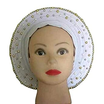 4b39ea5f9fc3 Amazon.com: Ofidy-African Ready To Wear Auto Gele With Embellished Silver  Design (White: Clothing
