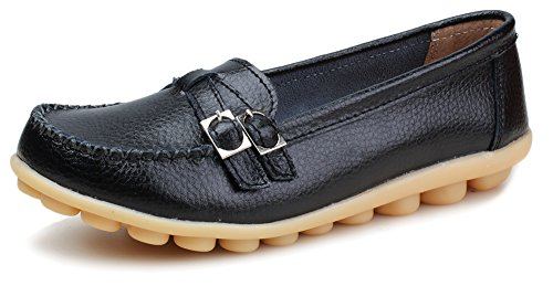 Kunsto Women's Leather Loafer Shoes Slip On