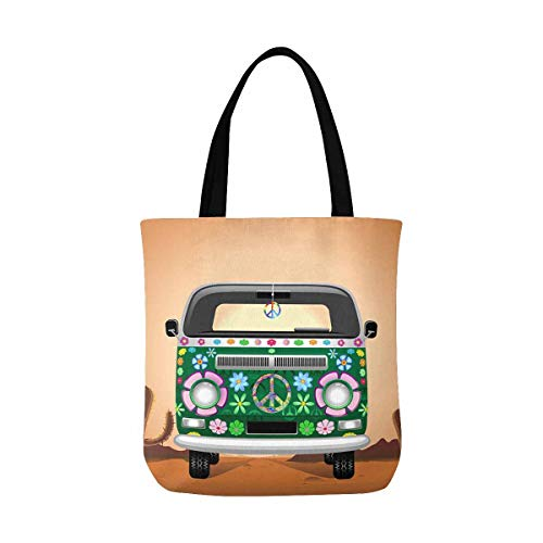 InterestPrint Hippie Groovy Van with Peace Sign Traveling on the Desert Canvas Tote Bags Reusable Shopping Bags Grocery Bags Washable Bags for Women Men Kids