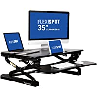 "FlexiSpot 35"" Wide Platform Height Adjustable Standing Desk Riser, Removable Keyboard Tray, Black (M2B-M-SIZE)"