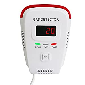 Techamor Plug-In Combustible Natural Gas Detector alarm Portable LPG LNG Gas Leak Sensor Tester with Voice Warning and Digital Display