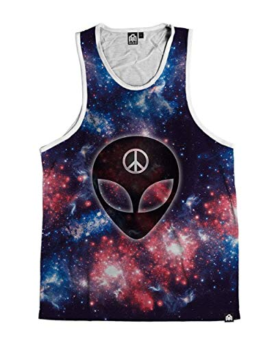 INTO THE AM We Rave in Peace Men's Sleeveless Tank Top Shirt (Blue, Large)