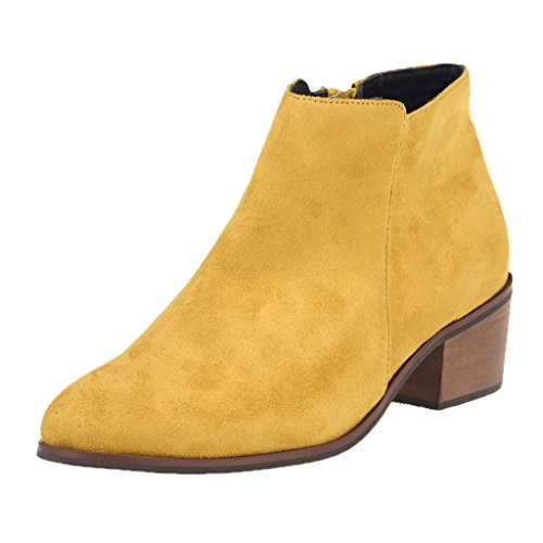 ZriEy Women's Faux Velvet Suede Chunky Heel Boots Pointed Toe Casual Winter Ankle Shoes Velvet Yellow size 9