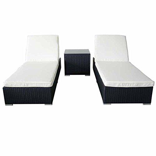 MCombo 6085-3000S 3 Piece Sun Lounge Wicker Garden Sofa Furniture Beds Cushioned Seat Set, Black