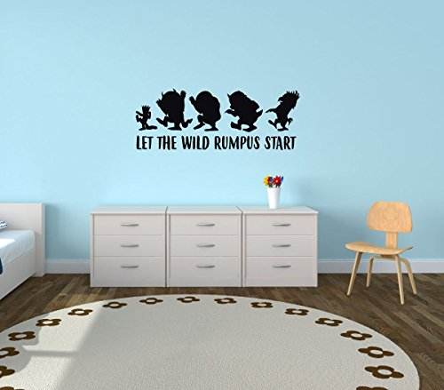 Wall Decal For Kids - Let The Wild Rumpus Start - Where The Wild Things Are Theme Room - Crown Design - Vinyl Wall Art and Decor for Children's Bedroom or playroom