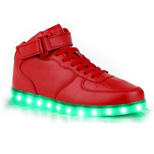 (Present:kleines Handtuch)JUNGLEST® High-Top mit Velcro 7 Farbe LED Leuchtend Sport Schuhe Glow Sneakers USB Aufladen Turnschuhe für Unisex Herren Da Rot