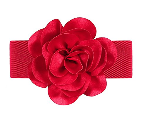 Women Girls Fashion Flower Wide Elastic Waist Band Waist Belt (red)