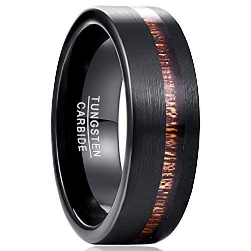 Vakki Ring Schwarzes Wolframcarbid+Hawaiianisches Holz 8mm Geeignet für Heiratsantrag,Lebensstil,Geschenk,Größe 54 bis 67(17.2-21.30