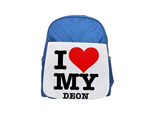 I LOVE MY DEON printed kid's blue backpack, Cute backpacks, cute small backpacks, cute black backpack, cool black backpack, fashion backpacks, large fashion backpacks, black fashion backpack