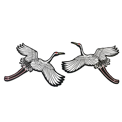 LAMEIDA 2 Pcs Embroidered Patch Fabric Iron-on or Sew-on Patches Badges Red-crowned Crane Applique Patches for Clothing, Jackets, Backpacks, Jeans,Baseball Cap