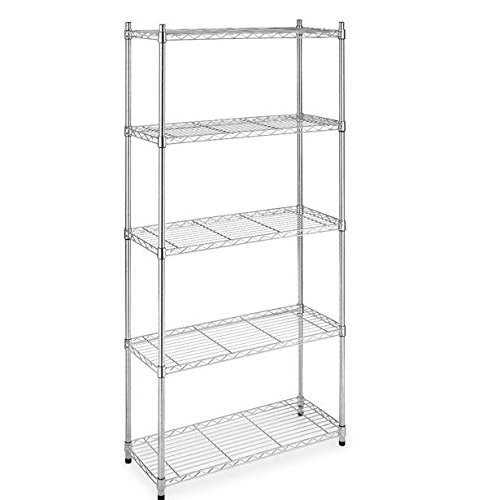 - BestOffice NSF Wire Shelving Unit 5-Tier Heavy Duty Height Adjustable Commercial Grade Large Storage Utility Steel Layer Rack Organizer for Kitchen Bathroom Bedroom Garage,Chrome