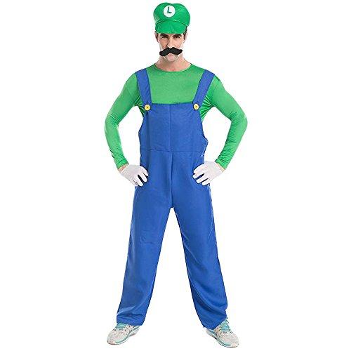AIKOSHA ROMAN Men's Super Mario Adult Cosplay Mario Brothers Halloween Party Costume (Overall Teen Costumes)