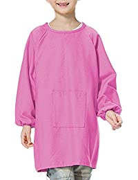 Buy (Price/each)Opromo Cotton Canvas Long-Sleeve Artist Smock, Kids Smock with One Front Pocket - Hot Pink,L compare
