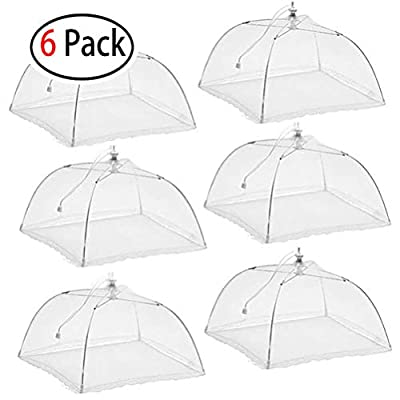 Mesh Screen Food Cover Tent Umbrella, 6 Pack Large Pop-Up Reusable and Collapsible Outdoor Picnic Food Covers Mesh, Food Cover Net Keep Out Flies, Bugs, Mosquitoes, 16 inch