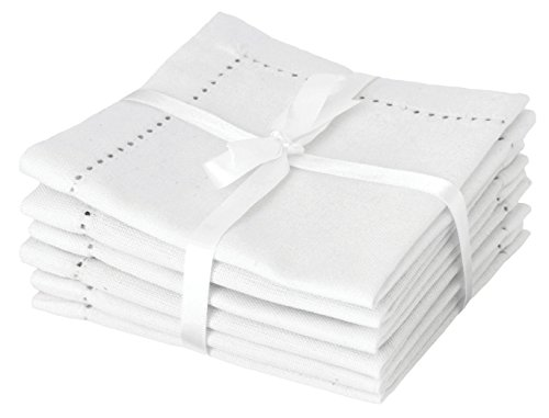 Hemstitch cocktail medium napkins.
