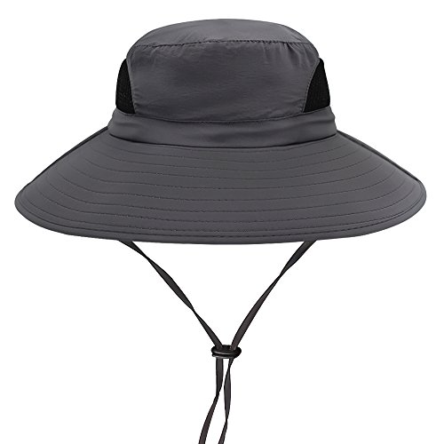 Hippih Waterproof Sun Hat Outdoor UV Protection Bucket Mesh Boonie Hat Adjustable Fishing Cap