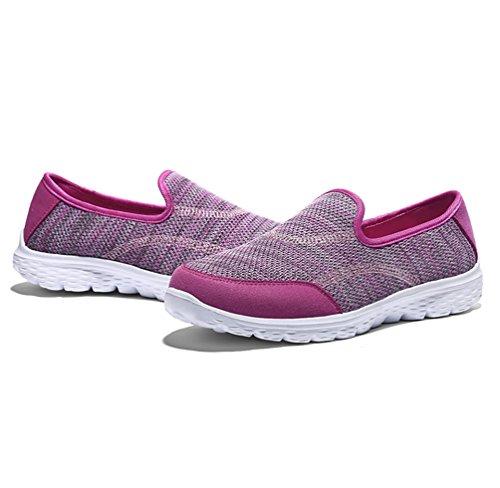 Baskets Avec Chaussures Des Paresseux Rose Plat Occasionnels Foncé Shake Chaussure Léger Été Printemps Yiiquanan Femmes Respirant q7TI8x4w