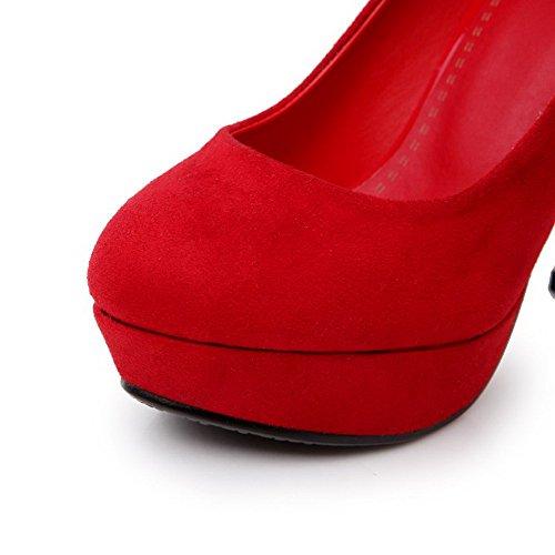 AllhqFashion Mujeres Puntera Redonda Cerrada Sólido Tacón ancho De salón con Diamante Rojo