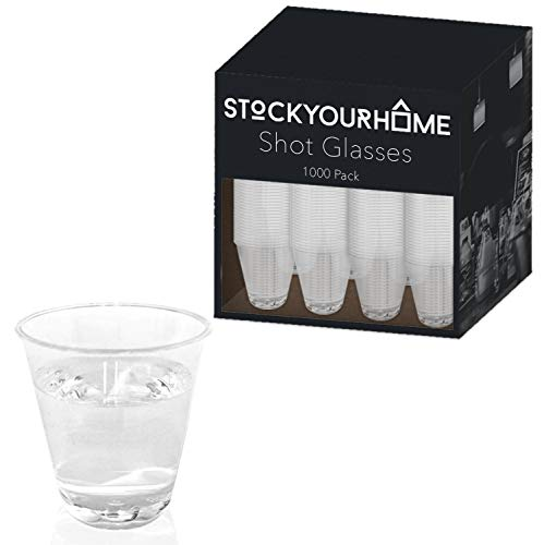 Stock Your Home Clear 1.5 Ounce Shot Glasses 1000 Pack of Small Hard Plastic Disposable Cups Ideal for Whiskey, Wine Tasting, Food Sampling and Sauce Dipping at Catered Events, Parties and Weddings