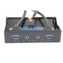 E-SDS USB 3.0 2-Port 3.5 Inch Metal Front Panel USB Hub with 1 HD Audio Output Port/1 Microphone Input Port for Desktop [ 20 Pin Connector & 2ft Adapter Cable]
