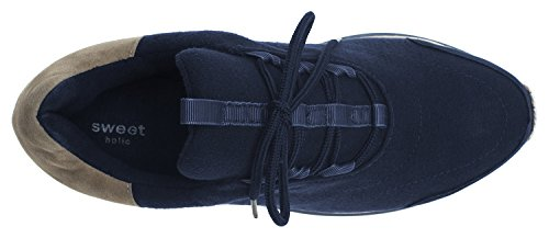 Annakastle Mujeres Wool Felt Low-top Comfort Slip On Sneaker Lace Up - Azul Marino