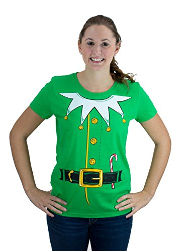 [Santa's Elf Costume | Jumbo Print Novelty Christmas Holiday Humor Ladies' T-shirt-Ladies,M] (Elf Outfit For Women)