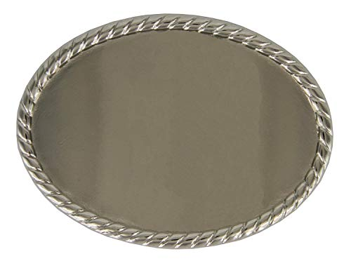 Roped Edge Belt Buckle - Roped Edge Oval Western Replacement Belt Buckle - Nickel Polished
