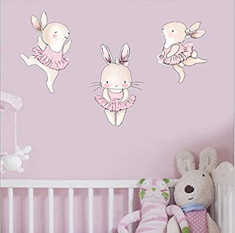 Amazon Com Yyt Cute Rabbits Wall Decoations Baby S Room Decals Set Of 3 Cute Bunnies Easter Holiday Wall Decor Animal Wall Sticker Non Toxic Removable Reusable Respositionable Pink Arts Crafts Sewing
