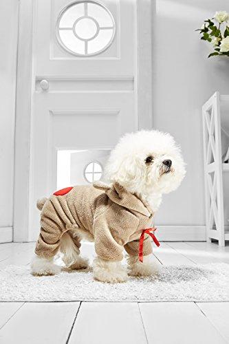 [Small Dog Teddy Bear Onesie For Bichon Frise Dachshund Mini Schnauzer Havanese (Small Size, light brown, beige,] (Mini Dachshund Halloween Costumes)