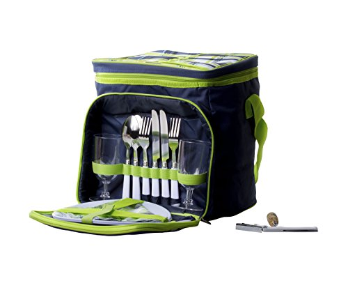 (Imperial Home Insulated Picnic Basket - Lunch Tote Cooler Backpack w/Flatware Two Place Setting)
