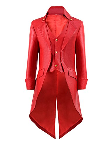 Very Last Shop Mens Gothic Tailcoat Jacket Black Steampunk Victorian Long Coat Halloween Costume (US Men-M, Red(Faux-Leather))