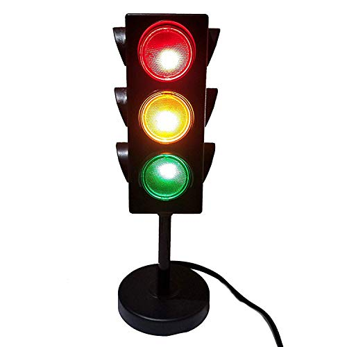 Kicko Traffic Light Lamp with Base - 8 Inch Mini Stop Light Lamp, Blinking 4 Sided with Plug-in Cord - Decoration for Kids